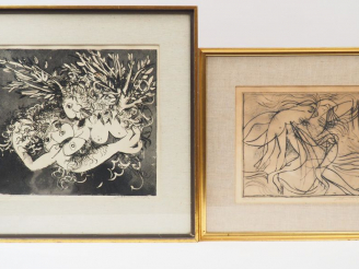 "Vente aux enchères Arthur BOYD ""Composition abstraite"", ""Figure with Brasso Tin"". Deux di"